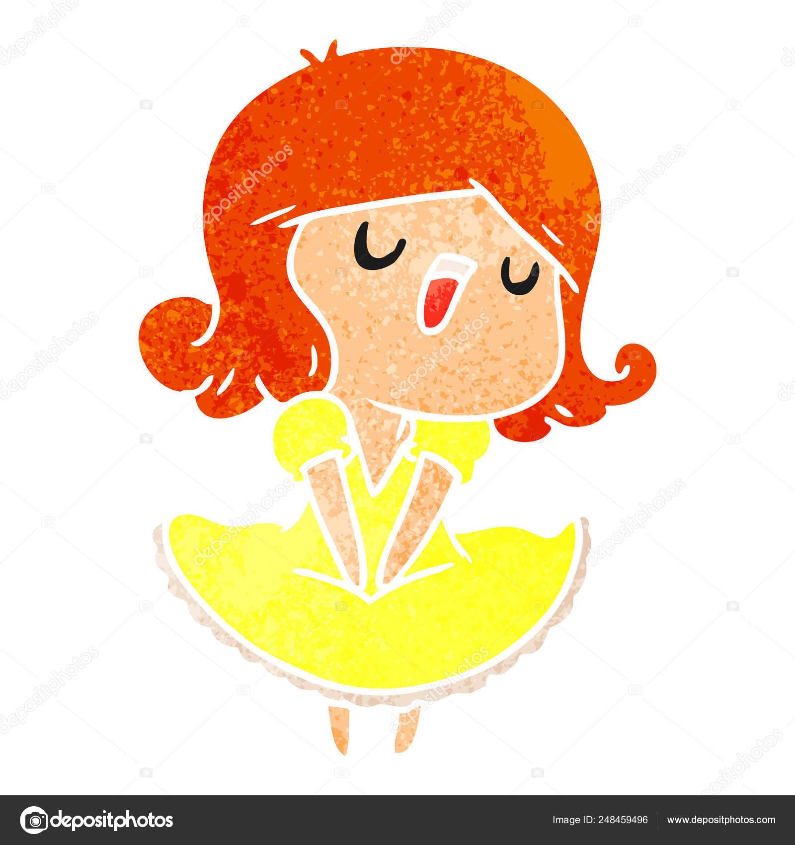 Illustration Dessin Animé Rétro Une Fille Kawaii Mignon