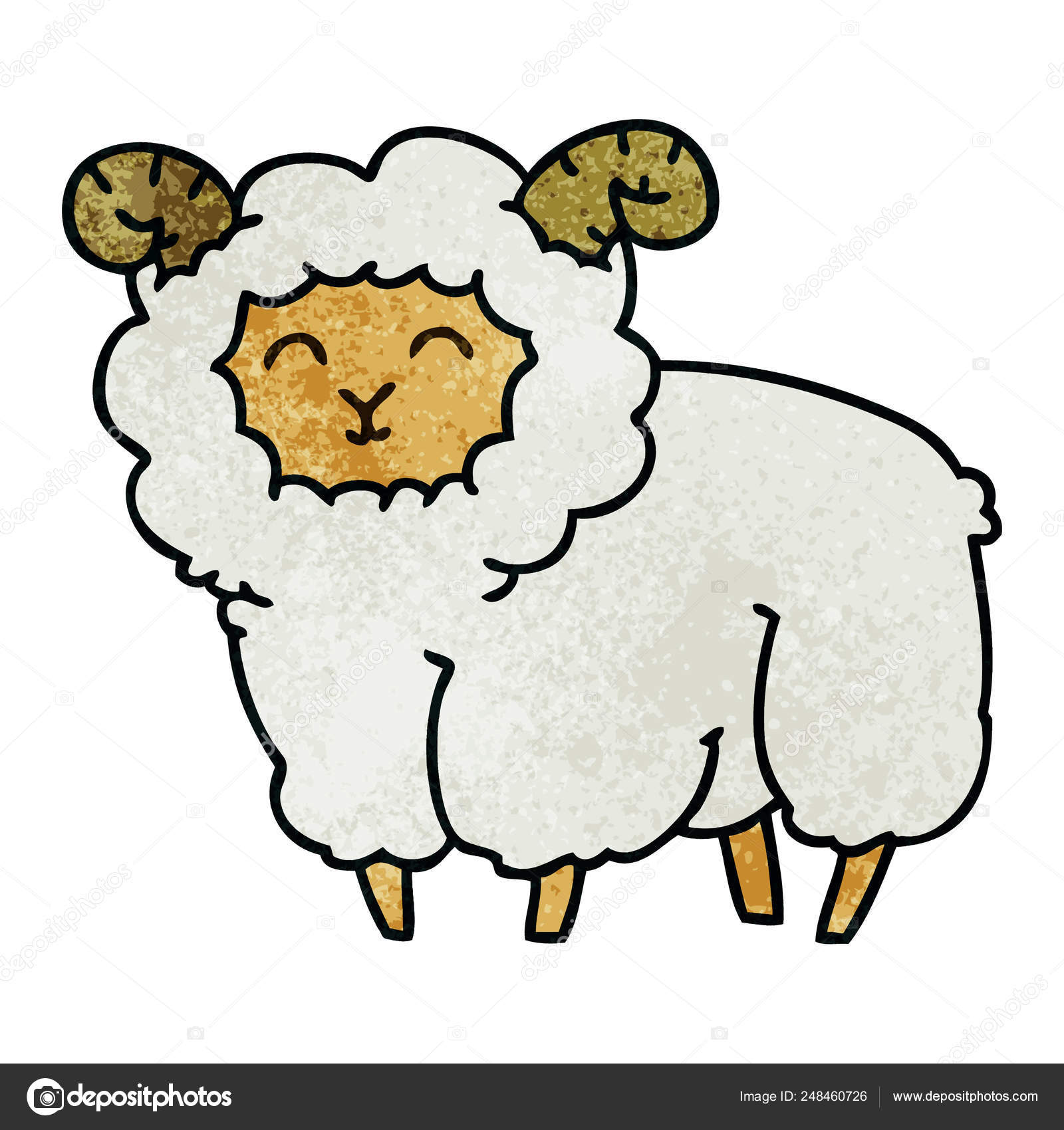 3916a04ab quirky hand drawn cartoon ram — Stock Vector © lineartestpilot ...