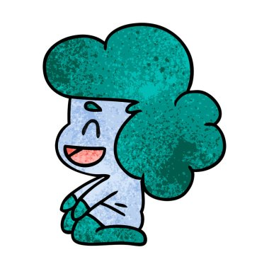textured cartoon illustration of a kawaii alien girl