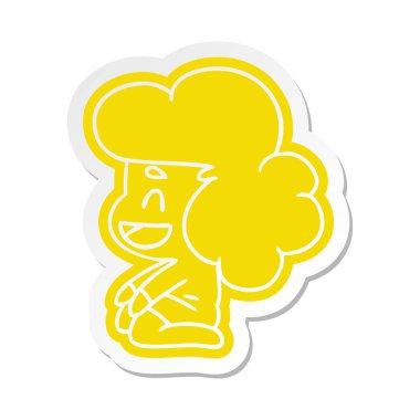 cartoon sticker of a kawaii alien girl