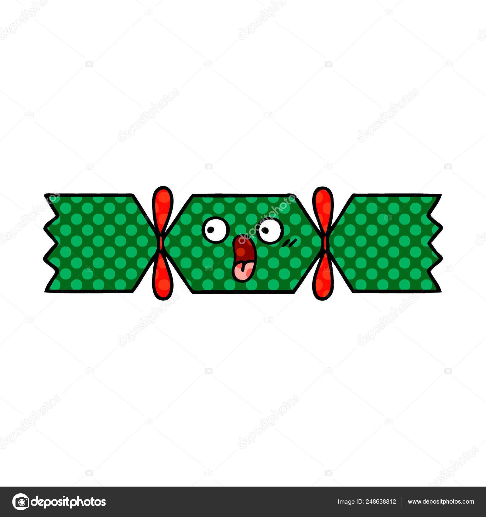 Christmas Cracker Vector.Comic Book Style Cartoon Christmas Cracker Stock Vector