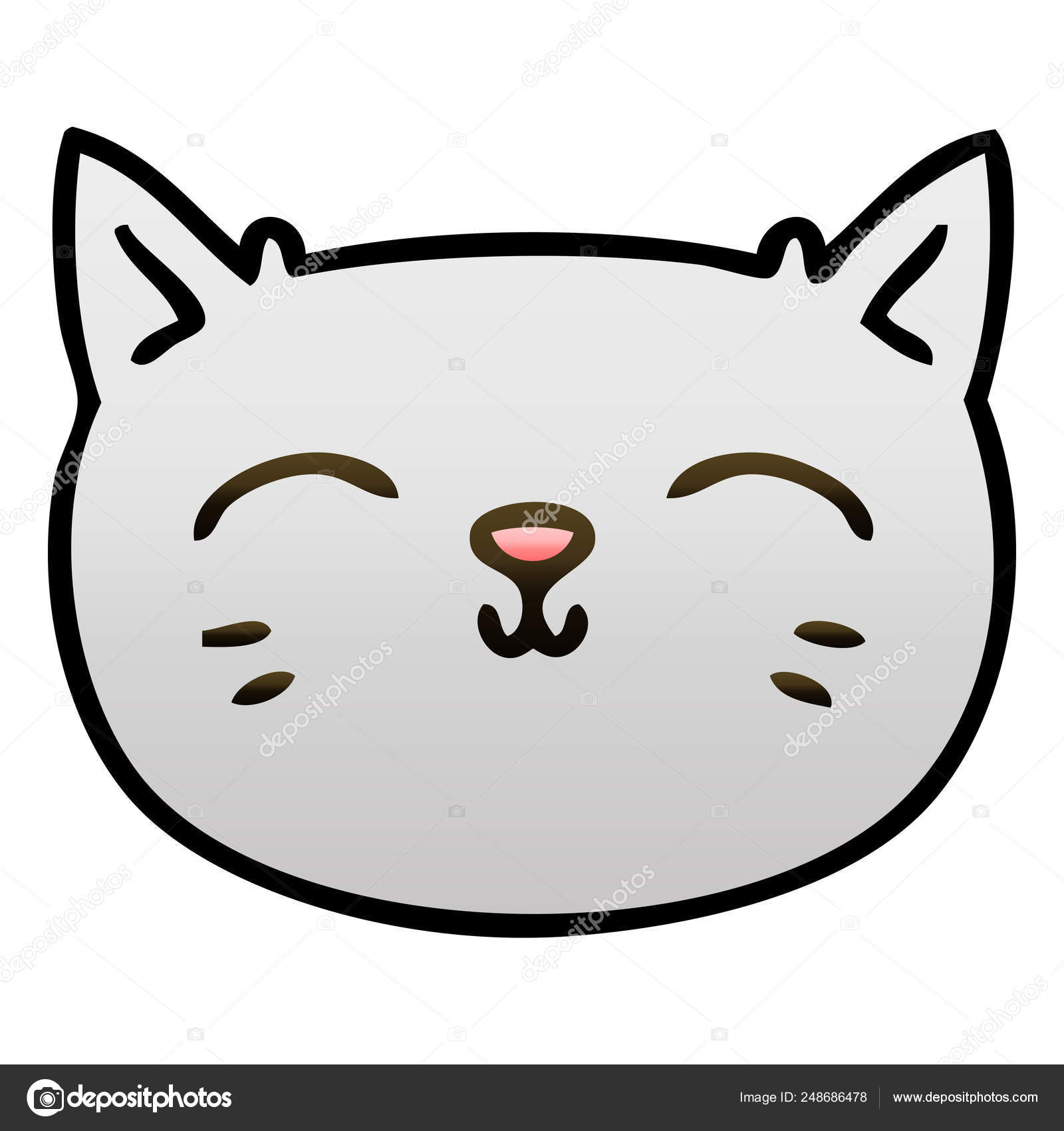 Quirky Gradient Shaded Cartoon Cat Face Stock Vector