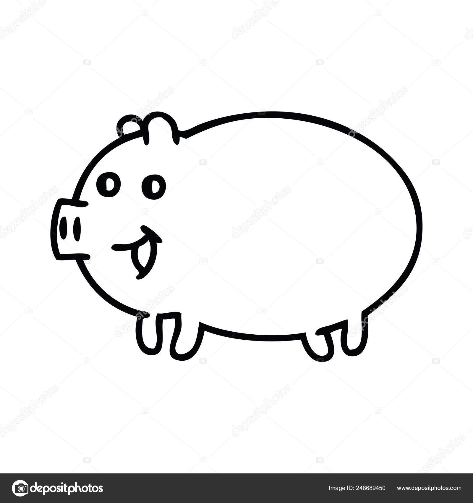 Cartoon Dessin Trait Cochon Image Vectorielle