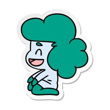 sticker cartoon illustration of a kawaii alien girl