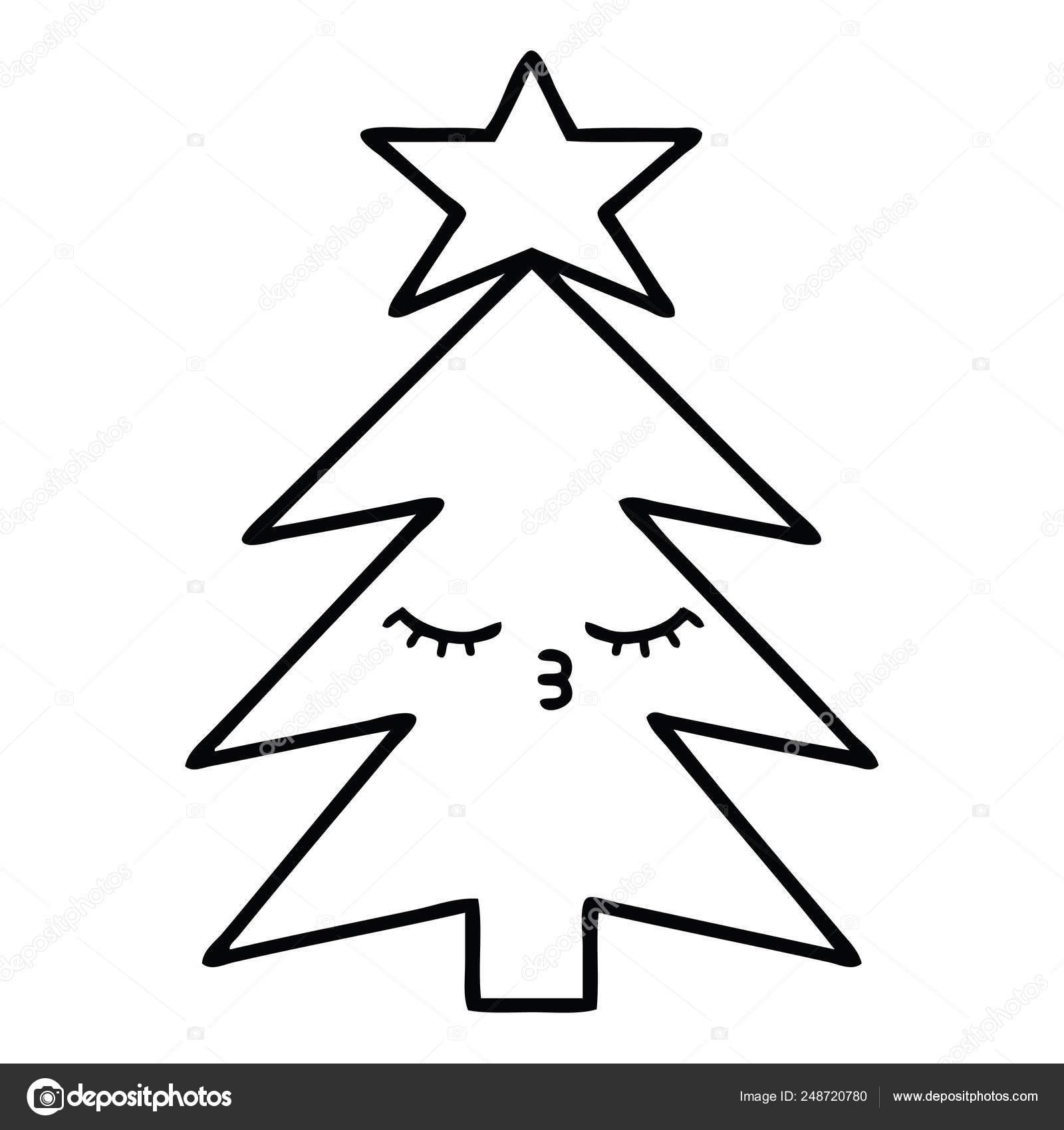 Arvore De Natal Desenho Desenho De Linha Vetores De Stock