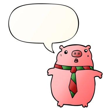 """Картина, постер, плакат, фотообои """"мультяшная свинья в офисном галстуке и речевом пузыре в гладкой гради птицы цветы"""", артикул 284453092"""