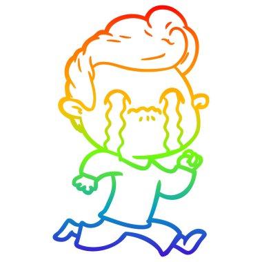 rainbow gradient line drawing cartoon man crying