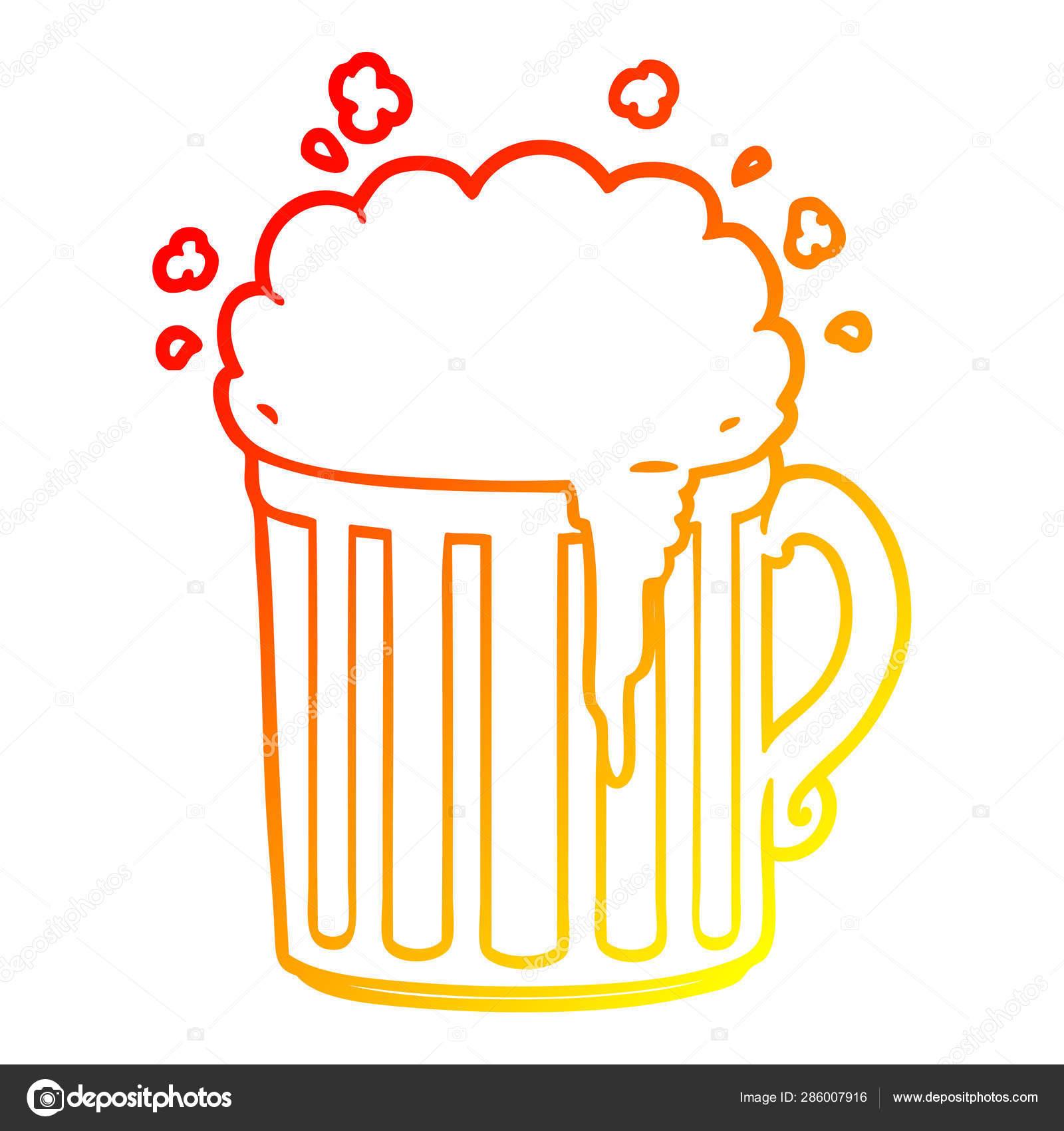 Warm Gradient Line Drawing Cartoon Mug Of Beer Stock Vector C Lineartestpilot 286007916