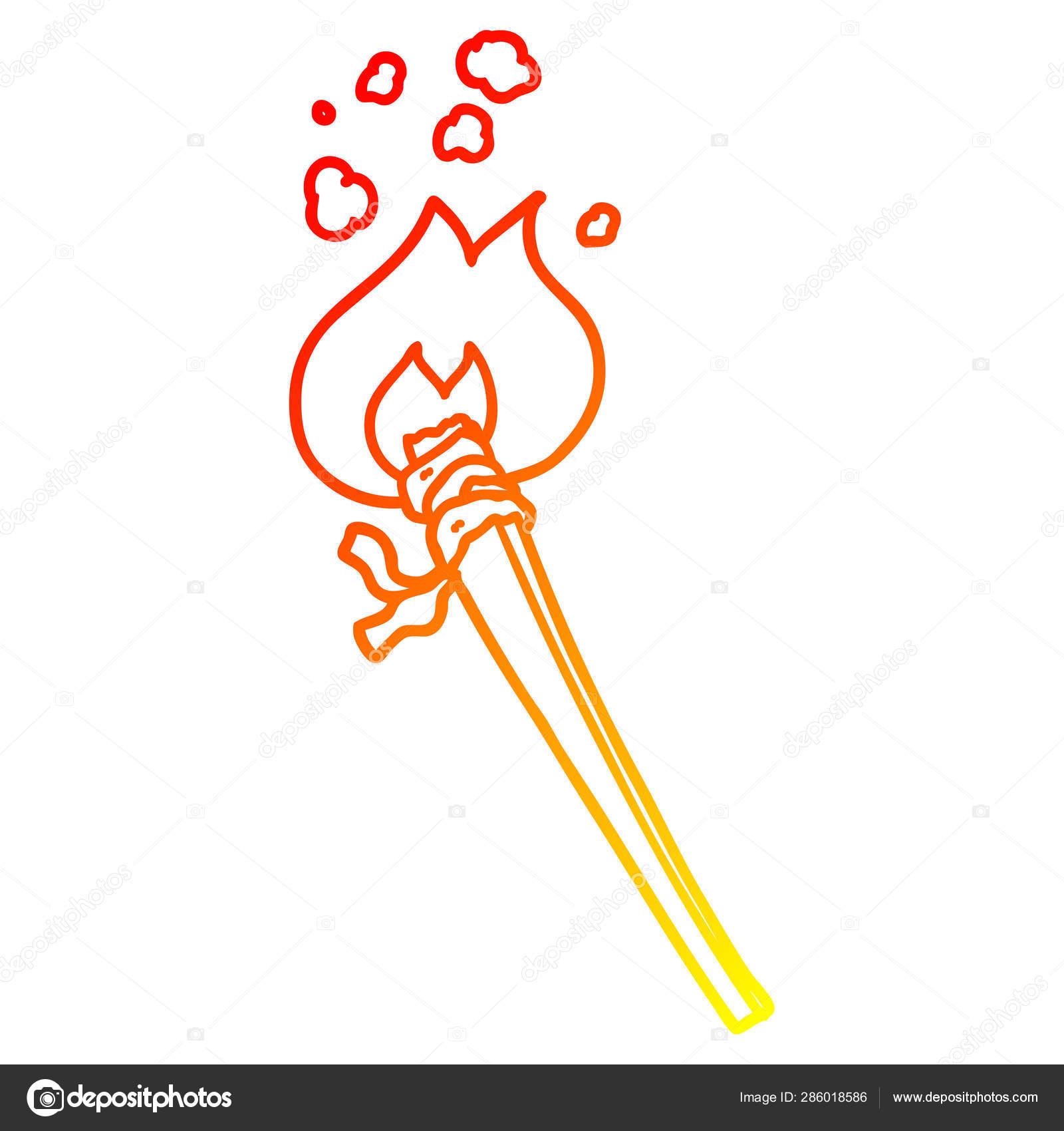 Linha De Gradiente Quente Desenho Caricatura Queima Tocha Vetores De Stock C Lineartestpilot 286018586