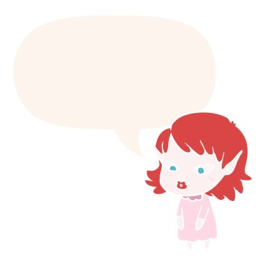 cartoon elf girl and pointy ears and speech bubble in retro styl
