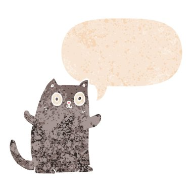 cartoon cat and speech bubble in retro textured style