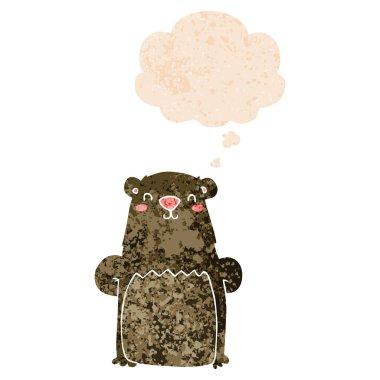 """Картина, постер, плакат, фотообои """"мультяшный медведь и мыльный пузырь в ретро текстурированном стиле постеры картины цветы насекомые"""", артикул 286539966"""