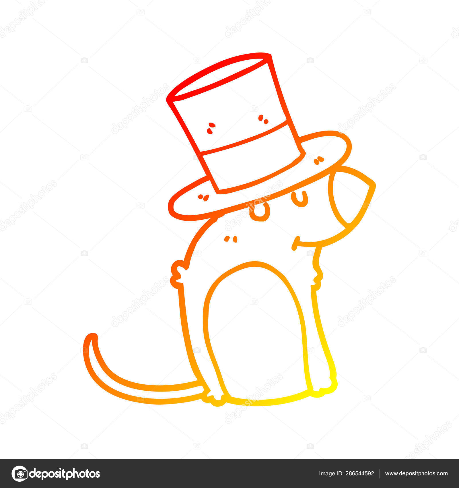 Christmas Hat Drawing.Warm Gradient Line Drawing Cartoon Rat Wearing Christmas Hat
