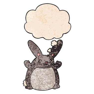 cartoon rabbit and thought bubble in grunge texture pattern styl