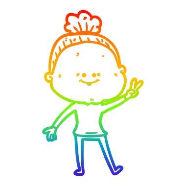 rainbow gradient line drawing cartoon happy old woman