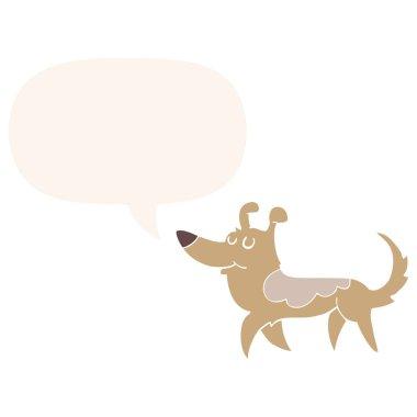 cartoon dog and speech bubble in retro style