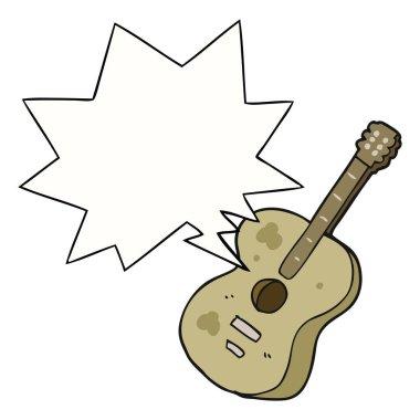 cartoon guitar and speech bubble