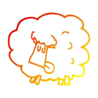 warm gradient line drawing cartoon black sheep
