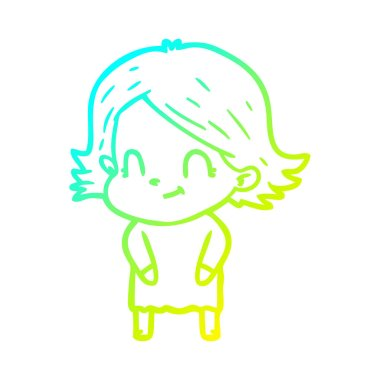 cold gradient line drawing cartoon friendly girl