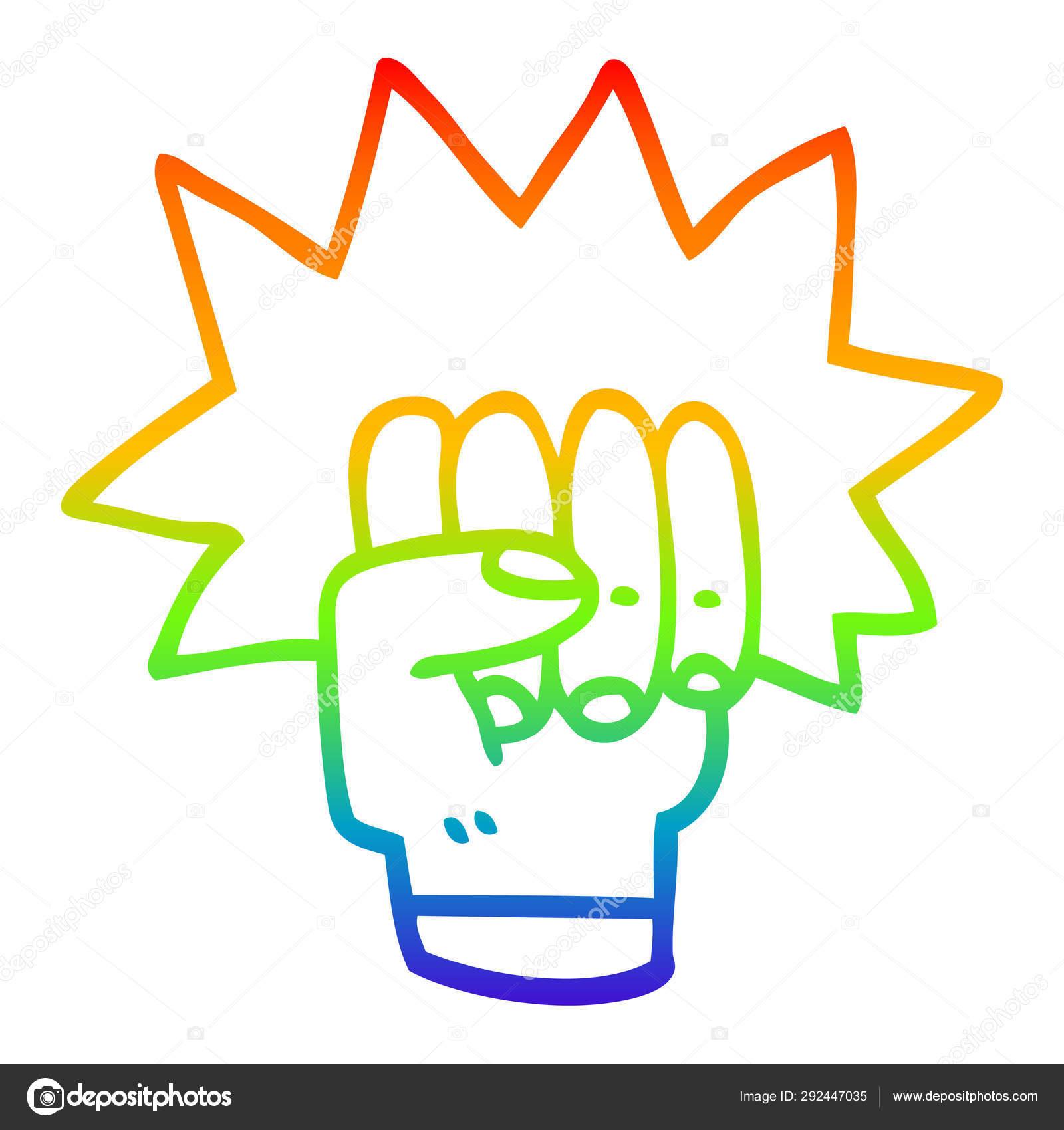 Rainbow Gradient Line Drawing Cartoon Punching Fist Stock Vector C Lineartestpilot 292447035