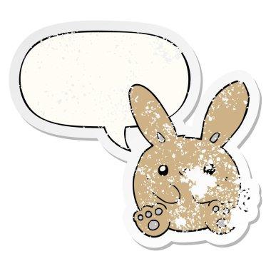 """Картина, постер, плакат, фотообои """"мультяшный кролик и стикер """"мыльный пузырь"""" птицы цветы"""", артикул 292442588"""