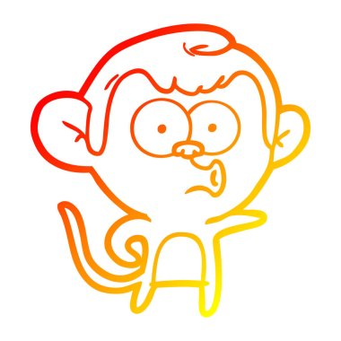 warm gradient line drawing cartoon pointing monkey