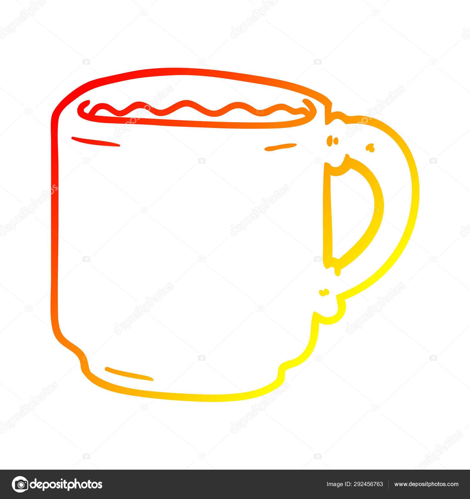 Warm Gradient Line Drawing Cartoon Coffee Mug Stock Vector C Lineartestpilot 292456763