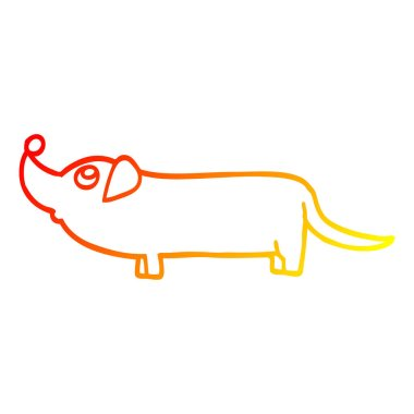 warm gradient line drawing cartoon dachshund