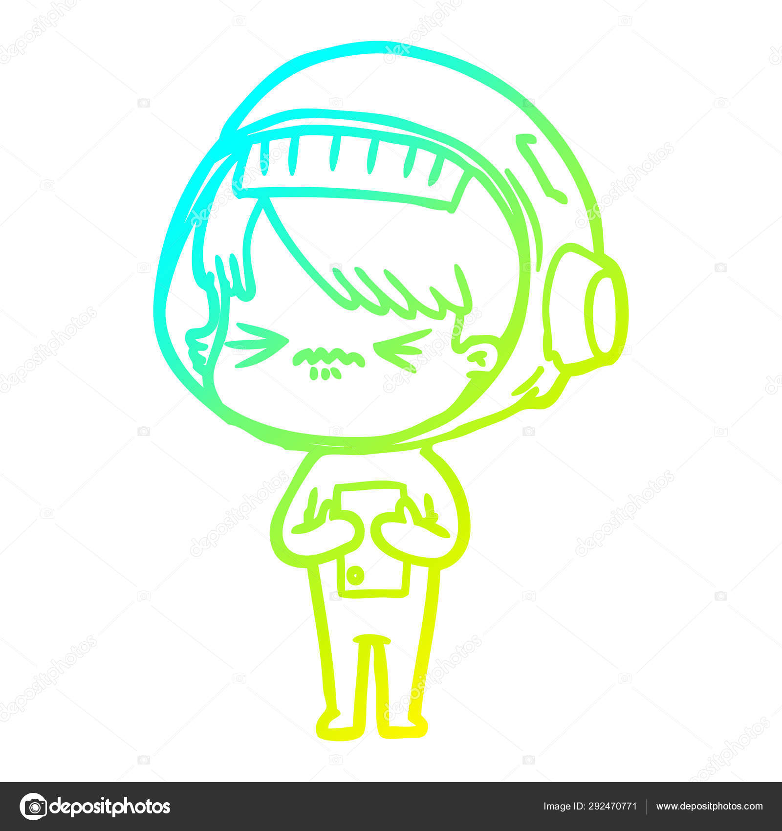 Cold Gradient Line Drawing Angry Cartoon Space Girl Stock Vector