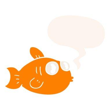 """Картина, постер, плакат, фотообои """"мультфильм рыбы и речи пузырь в стиле ретро"""", артикул 292474363"""
