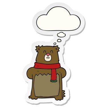 """Картина, постер, плакат, фотообои """"мультяшный медведь и мыльный пузырь в качестве наклейки """", артикул 292478199"""