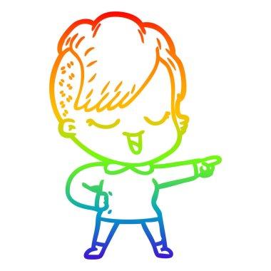 rainbow gradient line drawing happy cartoon girl pointing
