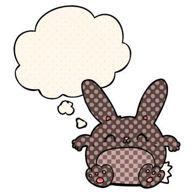 """Картина, постер, плакат, фотообои """"мультяшный кролик и мыльный пузырь в стиле комиксов постеры животные белые"""", артикул 292610274"""