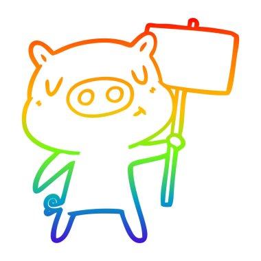 rainbow gradient line drawing cartoon content pig signpost;sign