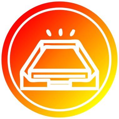 low office paper stack circular in hot gradient spectrum