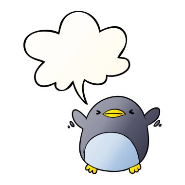 cute cartoon penguin flapping wings and speech bubble in smooth