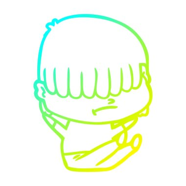 cold gradient line drawing cartoon boy with untidy hair