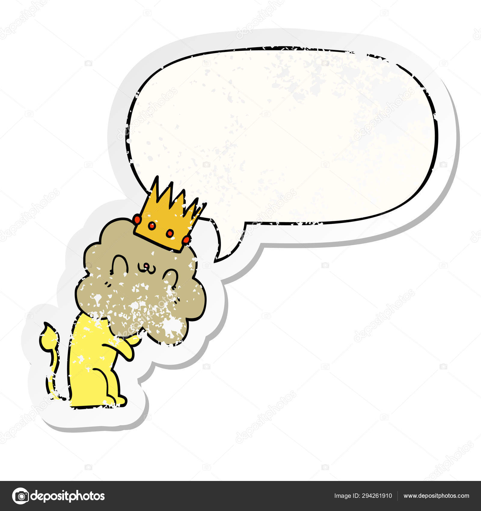 Cartoon Lion And Crown And Speech Bubble Distressed Sticker Stock Vector C Lineartestpilot 294261910 See more ideas about lion tattoo, lion tattoo with crown, lion. https depositphotos com 294261910 stock illustration cartoon lion and crown and html