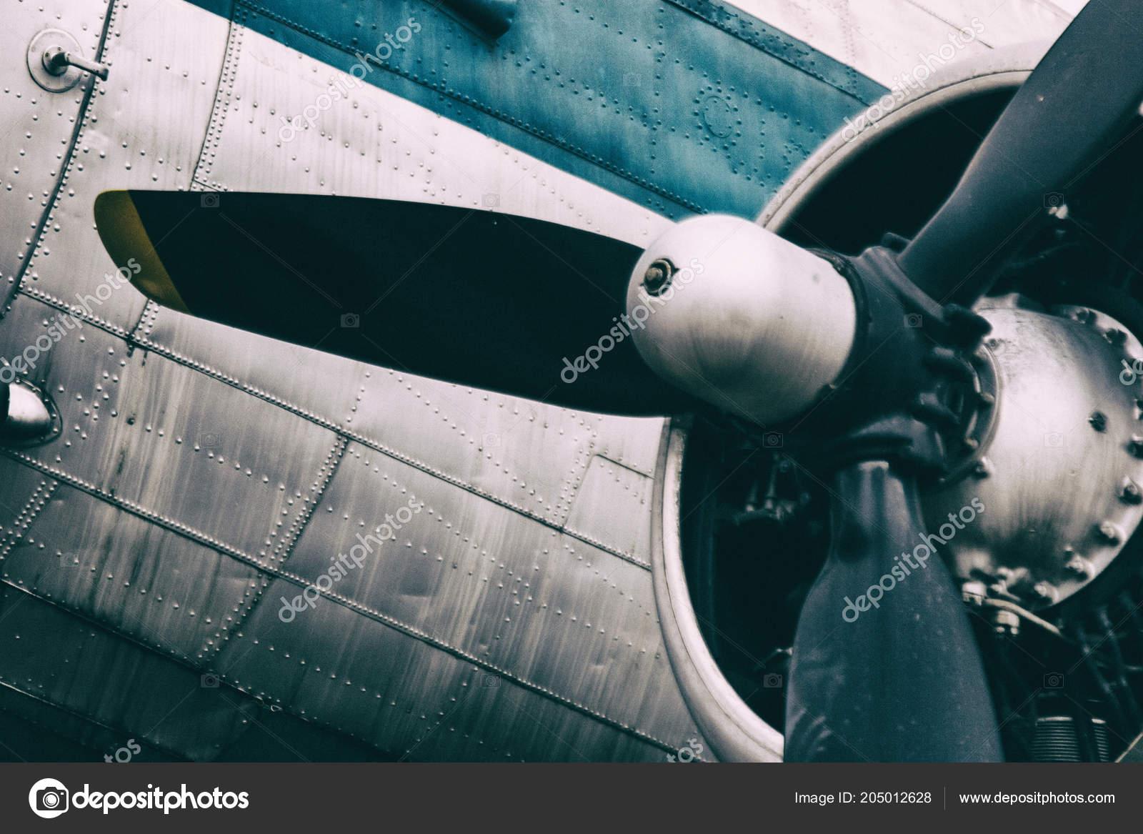 Background Of A Propeller Engine Of Vintage Metal Plane