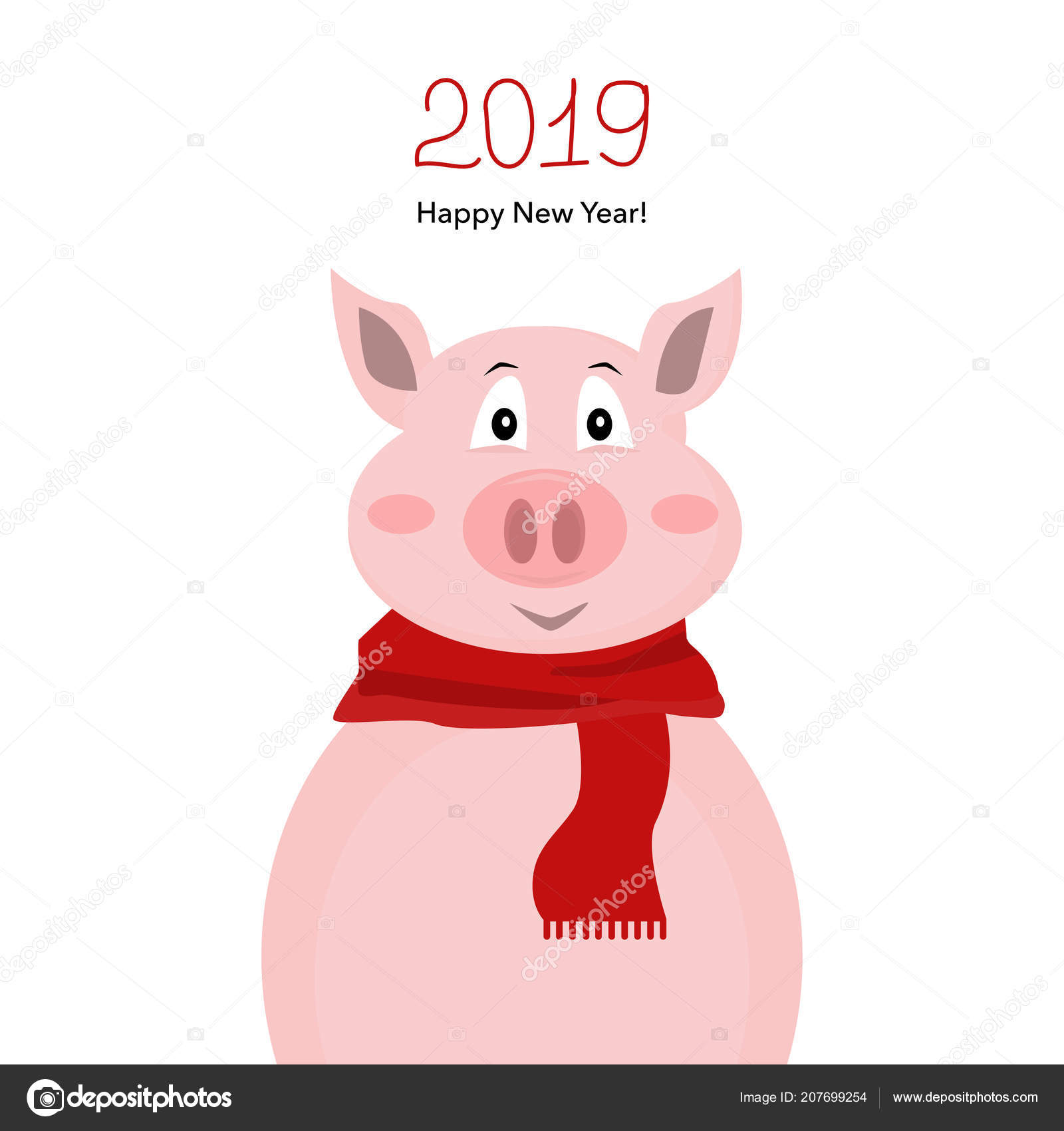 Happy new 2019 year greeting card cute funny pig red stock vector happy new 2019 year greeting card cute funny pig red stock vector m4hsunfo