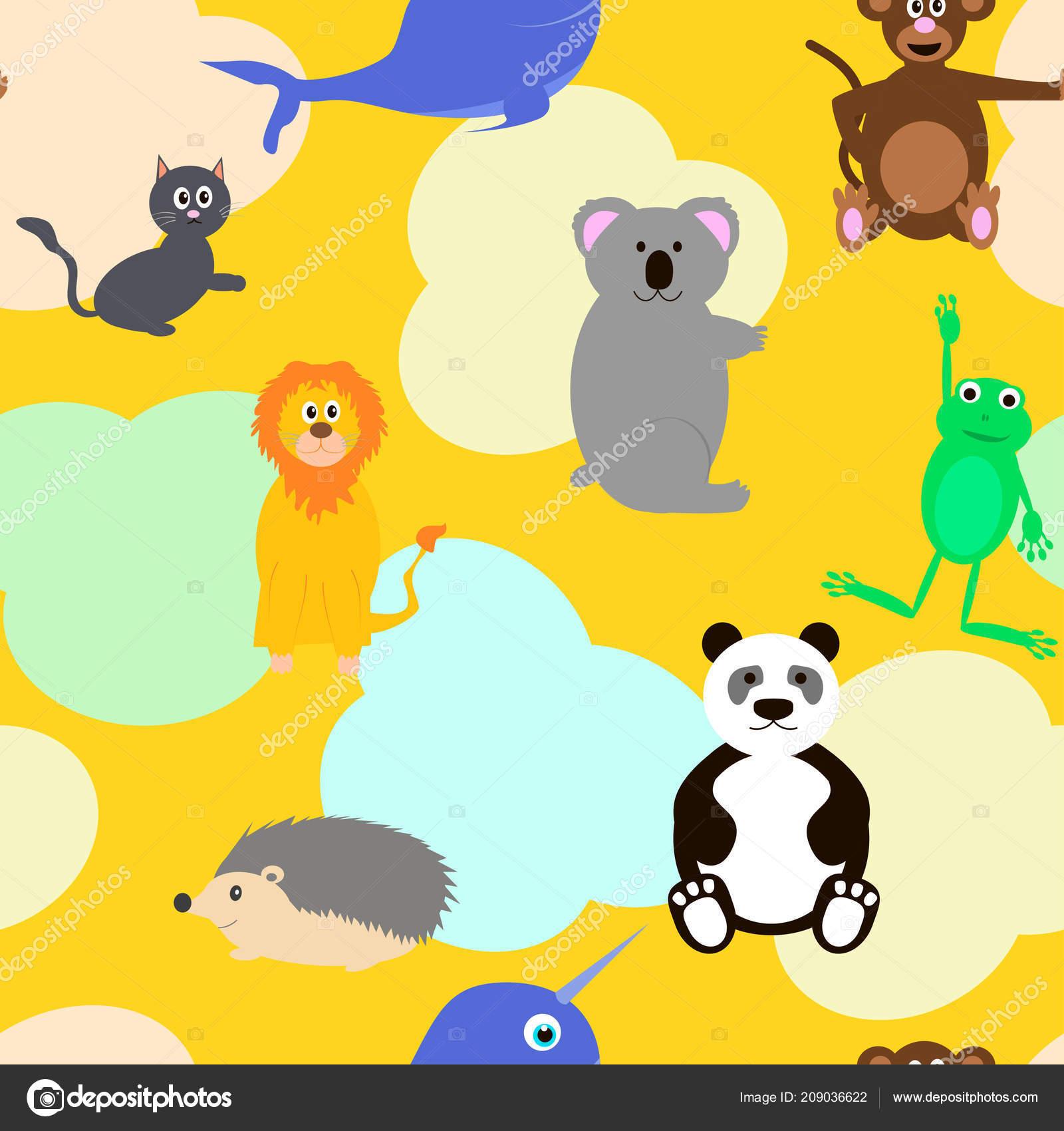 patrón sin fisuras con los animales sobre fondo amarillo vector