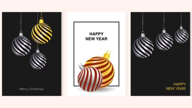 Set of Happy New Year and Merry Christmas posters with gold and silver 3D baubles. Vector illustration of winter decorations.