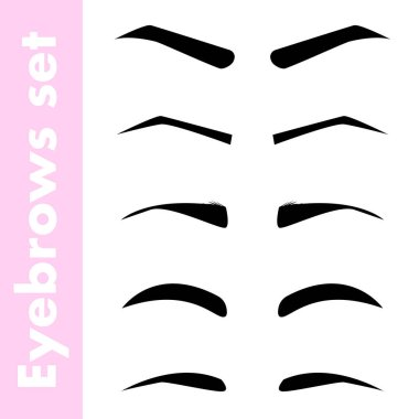 Black woman's eyebrows collection. Different forms set isolated on white background. Vector illustration of beauty collection.