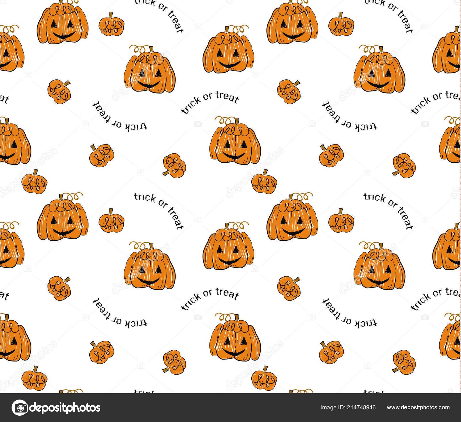 Cute Halloween Pumpkin Pattern On White Background Stock Vector C Galieva0410 214748946