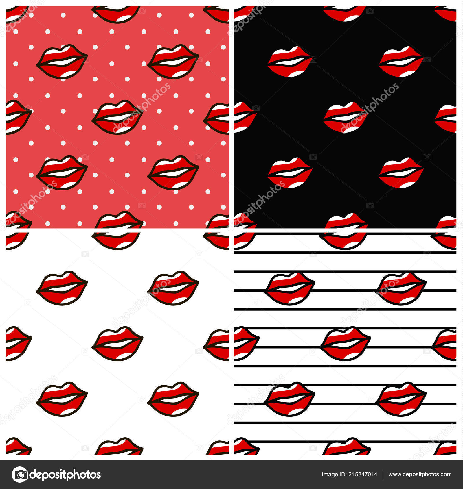 Red Lips Pattern Set In Cartoon Style On Dots Striped Black And