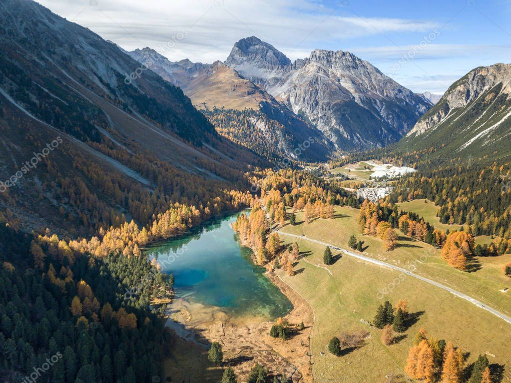 Aerial photograpy by drone over the Palpuogna Lake and the valley, Switzerland