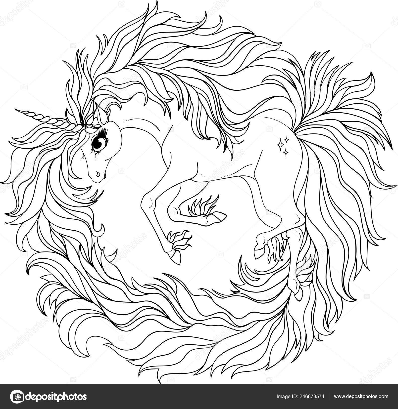 Drawing Unicorn Zentangle Style Coloring Book Tattoo Shirt Design