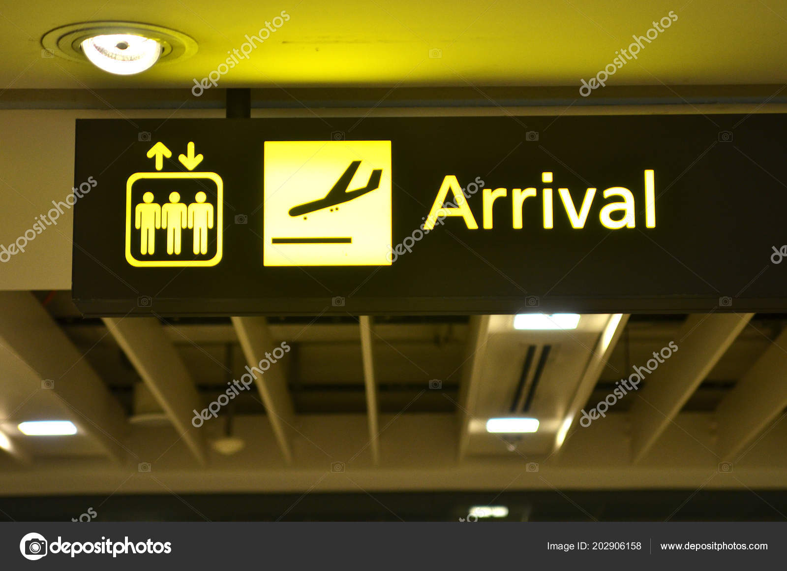 Airport Arrival Sign Hanging Airport Ceiling Stock Photo C Tang90246 202906158