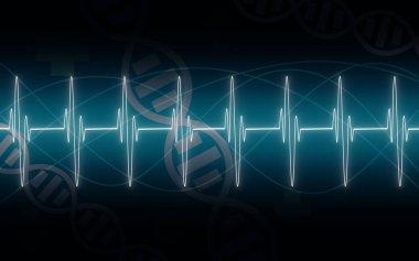 Illustration of EKG trace on blue background,3D rendering stock vector