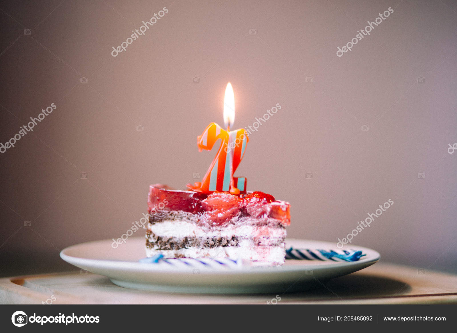 Piece Of Cake And Two Candles Candle Number 2 Photo By AleksandraFF